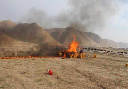 دهها کیلوگرام مواد مخدر و مشروبات الکلی در بادغیس سوزانده شد