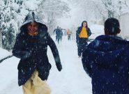 هم آغوشی مردم بادغیس با برف سپید زمستانی