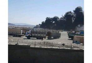 آتش سوزی در گمرگ میل ۷۸ فراه؛ دو تانکر گاز تا کنون حریق شده است