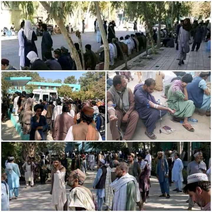 گزارش تصویری از اهدای خون وحدت گونه مردم به زخمیان انفجار مسجد فاطمیه ولایت قندهار
